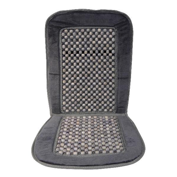 Carpoint Kralenkussen 'Deluxe' zwart/grijs 23219