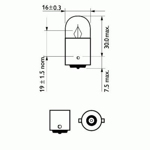 Philips Gloeilamp achterlicht / Gloeilamp interieurverlichting / Gloeilamp kentekenverlichting / Gloeilamp knipperlicht / Gloeilamp kofferruimteverlichting / Gloeilamp leeslamp / Gloeilamp parkeer-/ begrenzingslicht / Gloeilamp parkeer-/ breedtelicht 12821B2