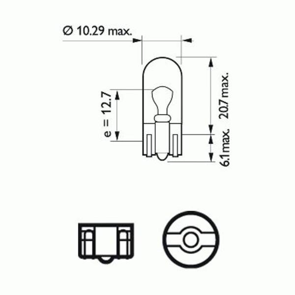 Philips Gloeilamp achterlicht / Gloeilamp derde remlicht / Gloeilamp deurlicht / Gloeilamp instaplicht / Gloeilamp interieurverlichting / Gloeilamp kentekenverlichting / Gloeilamp knipperlicht / Gloeilamp kofferruimteverlichting / Gloeilamp leeslamp 12961LLECOB2